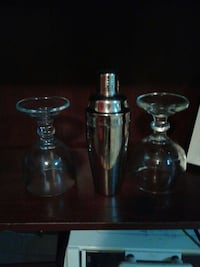 stainless steel liquor mixer and two wine glasses Winnipeg, R2X 0C4