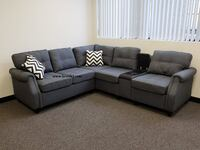 Sectional w/ USB charging port console & cup holders SALE No Credit NEEDED Essex