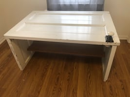 Coffee table   100yr old door with original porcelain knob