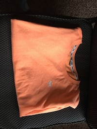 orange Victoria's Secret Pink crew-neck shirt