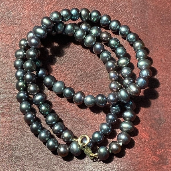 Genuine Black Pearl Necklace with 10k Gold Clasp 2ae41f53-57a9-4c83-b594-12799e2718f6