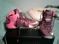 pair of red Nike LeBron James basketball shoes with box Ocala, 34470