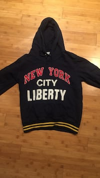 Black, red, and white pullover hoodie