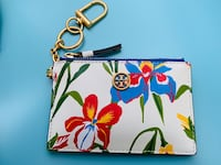 Tory Burch Robinson floral leather card/coin case with key ring Wheeling, 60090