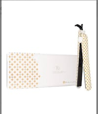 Beige and brown polka-dot hair flat iron with box