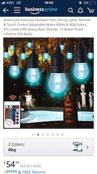 Outdoor lights, multicolored, Amazon $55, sell for $13. Falls Church, 22046
