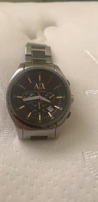 Round black emporio armani chronograph watch with silver link bracelet Devon, T9G 1P8
