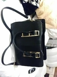 Black Leather purse with Gold