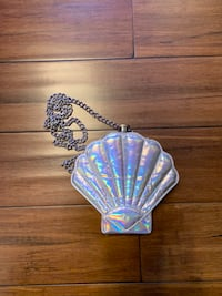 Chrome Mermaid Shell Purse with Flask