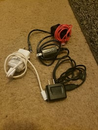 4 android chargers, 2 chalk guns, 2 lint roller