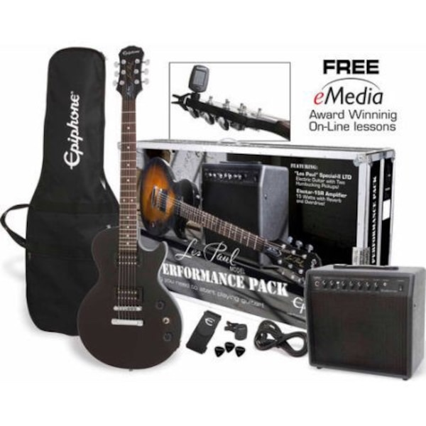 black Epiphane electric guitar with amplifier set