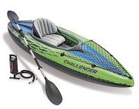 Challenger K1 Kayak, 1-Person Inflatable Kayak Set with Aluminum Oars and High Output Air Pump Concord, 03301