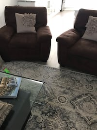 Brown suede living room chairs set with throw pillows Montréal, H1E 4J7