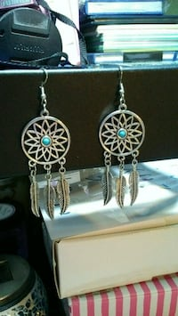 silver and blue hook earrings Canton, 48188