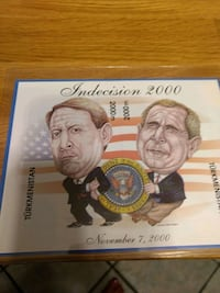 George w Bush and Al Gore Indecision 2000 commemorative postage stamp. Stafford, 22554