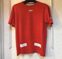 Red Off White tee