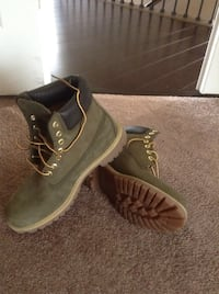 Pair of Green Suede Timberland Boots Waldorf