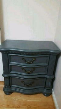brown wooden 3-drawer nightstand Ashburn