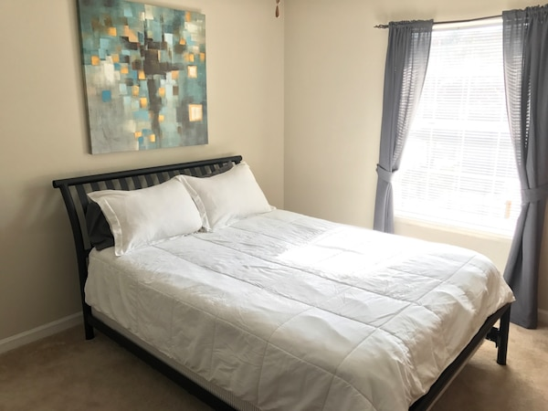 Used Queen size Sleigh Bed w/ mattress and box spring for sale in ...
