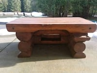 brown wooden framed glass top coffee table Port Coquitlam, V3C 1T2