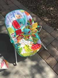Baby's blue and green bouncer chair