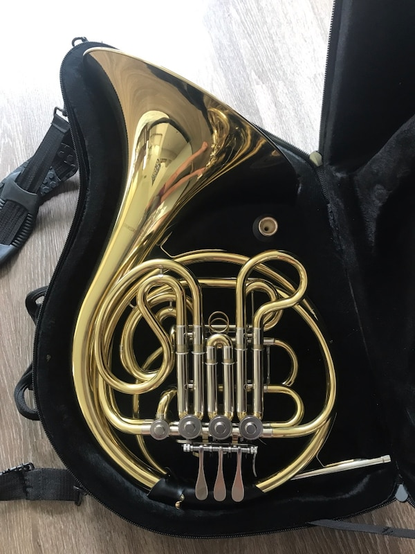Barely used intermediate double French horn. Includes a gig bag.