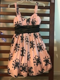 Pink and black floral spaghetti strap dress Surrey