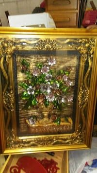 green and gold petaled flower painting Baltimore, 21216