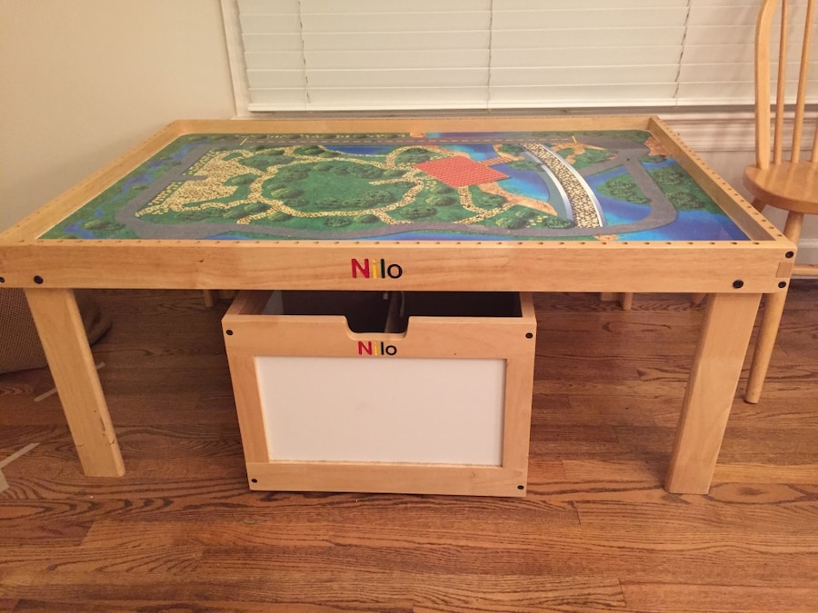 used nilo train table includes under table rolling storage bin for rh us letgo com  nilo train table assembly