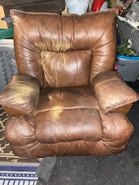Brown real leather recliner chair/ free delivery
