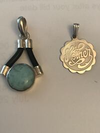 """Sterling silver and turquoise pendant. Sterling silver """"Mother"""" pendant  Laval, H7W"""