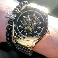 Hublot styled gold tone fully automatic watch 546 km