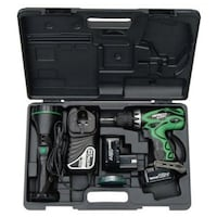 green and black Hitachi drill and flashlight set in case Calgary, T2G 2Y3