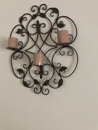 black metal wrought iron wall candle holders