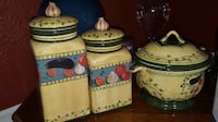 three white and blue ceramic canisters El Paso