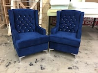 blue tufted fabric sofa chairs Mississauga, L5S