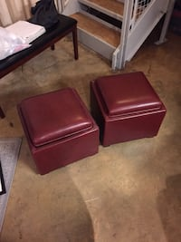 Pair of Leather Storage Ottoman/ Wooden Table Washington, 20009
