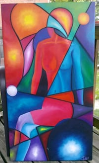 Stretched canvas abstract painting 40 km