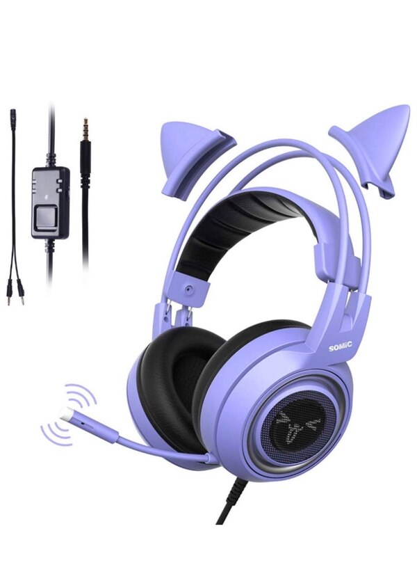 Purple Stereo Gaming Headset with Mic for PS4, Xbox One, PC, Phone,  Detachable Cat Ear 3 5MM Noise Reduction Headphones Lightweight Computer  Gaming