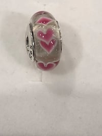 Sterling silver clear murano glass with pink hearts bracelet charm