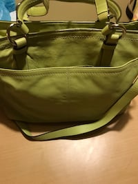 COACH AUTHENTIC GREEN LEATHER TOTE WITH DETACHED STRAP