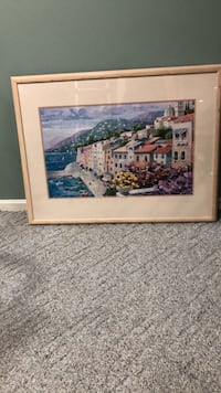 42x32.5 water color art - European scenery, pastel colors Silver Spring, 20905