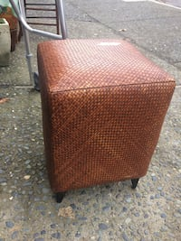 brown woven cube ottoman Duncan, V9L