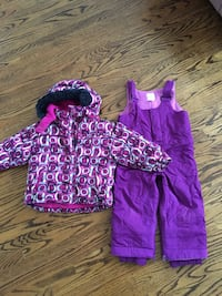 toddler's purple and white zipped hoodie with purple dungaree