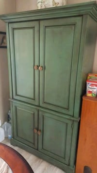 MOVING - Distressed Sage Green TV Armoire Winchester, 22603