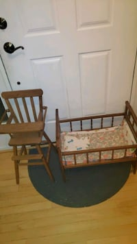 childs toy baby high chair and crib