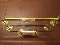 Brass towel bar and toilet paper holder with brass screws. All Polished brass. Mc Lean, 22102
