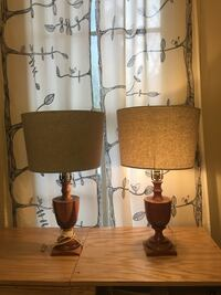 two brown wooden base white shade table lamps San Antonio, 78212