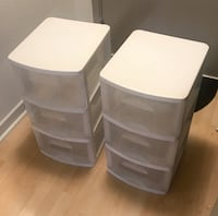 "$22 - Pair of White and Clear Storage Boxes - 24.75"" x 15"" x 13"" Washington, 20036"
