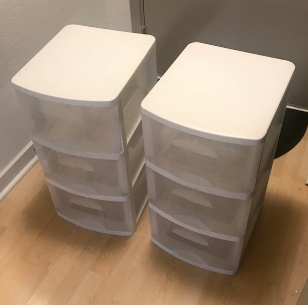 "$20 - Pair of White and Clear Storage Boxes - 24.75"" x 15"" x 13"""